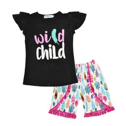 Wholesale Feathered Kids Clothes - Girls Summer clothes children short sleeve outfits kids arrow black top with feather tassels shorts set