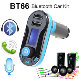 Wholesale Remote Control Car Receiver - Bluetooth Car FM Transmitter Hands free Phone Call Dual USB Car Charger 3.5mm Aux Receiver MP3 Music Player Remote Control LCD Display BT66