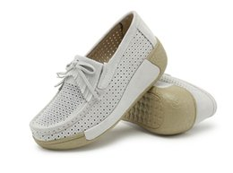 Wholesale Ladies Boat Shoes - HKR 2016 Summer wedges casual shoes women suede leather platform shoes cut-out breathable wedges shoes ladies boat shoes
