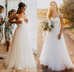 Wholesale Drop Neck Wedding Dress - Elegant Tulle Beach Wedding Dresses 2017 Sweetheart Lace A line Simple Cheap Bridal Gowns Country Wedding Dress