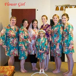 Wholesale Sexy Child Clothing - Wholesale- New Kid Silk floral Robe Kimono Robes Bridesmaid Flower Girl Casual Dress Children Bathrobe Sleepwear Baby Clothes Dressing Gown