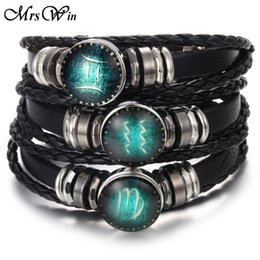 Wholesale Libra Bracelet - Wholesale- 2017 New Snap Buttons Bracelet Scorpio Libra Capricorn 12 Constellation Bracelet Men Women Braided Leather Bracelets & Bangles
