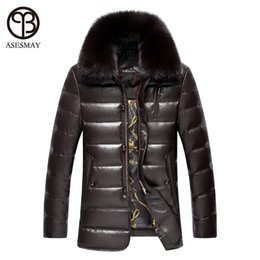 Wholesale Fox Ribbon - Wholesale- Asesmay 2016 New Men's Leather Down Jacket Men coat Fox Fur collar Coat Men Leather Jackets Coats Winter Down Coat Warm Parka