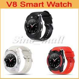 Wholesale Italian Fashion Free Shipping - 20pcs Fashion Smart Watch V8 For Male Female Sports Watches HD Touch Screen Wrist Watch Support Android IOS Phone Calling DHL Free Shipping