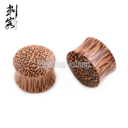 Wholesale 2016 New Style Coconut Organic Wood Plugs Ear Double Flare Saddle Plugs Piercing Body Jewelry