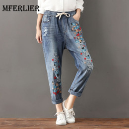 Wholesale Womens Jeans Xl - Mori Girl Autumn Artsy Jean Femme Bow Elastic Waist Distressed Denim Jeans Womens Embroidery Harem Jeans Plus Size