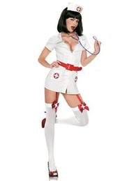 Wholesale White Nurses Uniform Dress - New Arrival Hot Halloween Uniform Fetish Uniform White Fancy Dress Sexy Naughty Nurse Costumes with Belt W8414