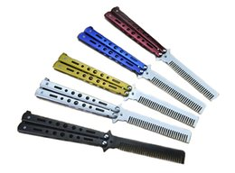 Wholesale Balisong Knife Comb - Camping Knife 5 Color Benchmade Stainless Steel 54HRC 3Cr13Mov Practice Training Butterfly Balisong Style Knife Comb Cool Sport F806E