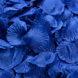 Wholesale Royal Blue Silk Petals - 2017 Hot sell New 4000Pcs Silk Royal Blue Rose Petals Wedding Flowers favors Decoration Jewelry DIY 17#