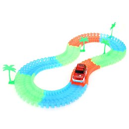 Wholesale toy tracks for cars - 96PCS DIY Luminous Racing Track Assembly Flexible Twister Car Toy For Christmas Birthday Gift For Childrens Hot Sale