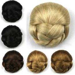 Wholesale European Clip Remy Hair - 7 Colors Braid Buns Hair Pieces Donut Roller 11cm Queen Hair Products Brown  Blond Black Hair High Bun Free Shippng