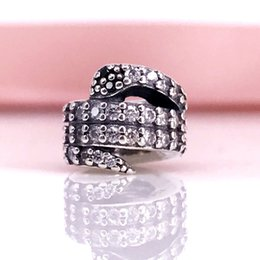 Wholesale Sparkled Clear Crystal - Authentic 925 Sterling Silver Sparkling Snake Charm Clear CZ & Black Crystal Fit For Pandora Snake Chain Bracelet DIY Jewelry 791539CZ