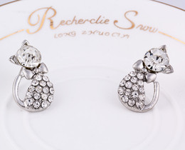 Wholesale Diamond Bow Studs - Earrings for women Cute diamond bow shape earrings Gold plated temperament earrings free shipping