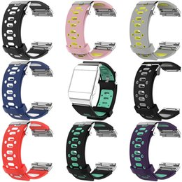Wholesale Ionic Bracelets - 2017 NEW Dual Colors Silicone Bracelets For Fitbit IONIC Strap Bands Breathable Sport NK Silicone More Hole Series 1 2 Straps Band