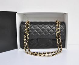 Wholesale Double Flap - Fab Price Medium 25.5cm Classic Quilted Womens Black Genuine Lambskin Leather Plaid Double Flaps Shoulder Bag Chain Handbag Gold Hardware