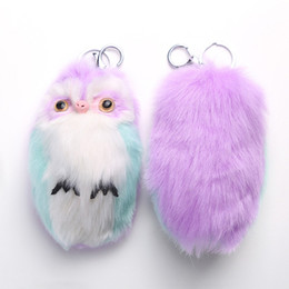 Wholesale Owl Accessories For Girls - Hot Colorful Fluffy Owl Key Chain Women Key Ring Fashion Bag Accessories Girl Charming Lovely Keyfob Trendy Jewelry For Ladies