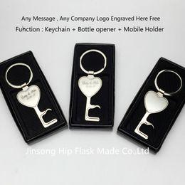 Мобильный нож онлайн-Персонализированный zinic keychain 100pcs с консервооткрывателем бутылки и передвижным держателем, персонализированным Логосом свободно, упаковкой коробки подарка