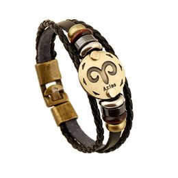 Wholesale Fashion Horoscopes - 12 Zodiac Sings Bracelets Fashion Jewelry Leather Bracelets Men Casual Personality Alloy Vintage Punk Bracelet 1176