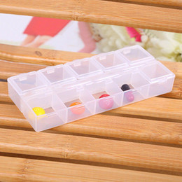 Wholesale Compartment Storage Bins - Newest Arrival Earring Ring Jewelry Bin Bead Case Container Boxes Transparent Plastic Rectangle 10 Compartment Storage Box YWT