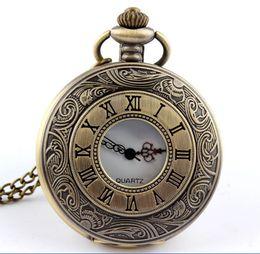 Wholesale Enamel Flower Pocket Watch - Men Vintage Flower Enamel Pocket Watch Bronze Retro Antique Watch with Chain Necklace Roman Steampunk Gift Anniversary Weddings
