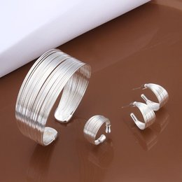 Wholesale Wholesale Items China - New Items Ladies Cuff Bangle 8.0inch Ring 8# Earring 925 silver Shining Jewelry Set 10set lot S312