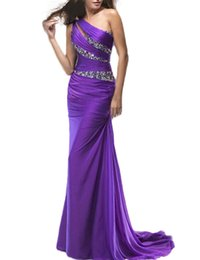 Wholesale Buy Black Mermaid Dress - Buy Direct From China Women's Prom Dresses One Shoulder Mermaid Chiffon Evening Dresses Purple Special Occasion Dresses 2017