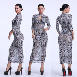 Wholesale Tribal Tattoos Sleeves - Sexy Black Mesh Maxi Bodycon Dress Long Sleeve Slim Pencil Dress Vintage Tribal Tattoo Print Party Night Club Dresses