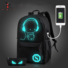 Wholesale Bags School Sheep - Raged Sheep School Backpack Student Luminous Animation School Bags For Teenager USB Charge Computer Anti-theft Laptop Backpack