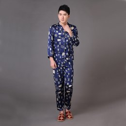 Wholesale Xxl Pajamas Men - Wholesale-Navy Blue Chinese Men Silk Satin Sleepwear Male Long Sleeve Pajamas Set Loungewear Pyjamas Plus Size S M L XL XXL XXXL MP008