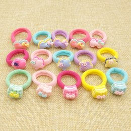 Wholesale Hair Elastics Flowers - Lot 100Pcs Child Kids Hair Holders Cute Acrylic Cat Flower Bow Rubber Hair Band Elastics Accessories Girl Charms Tie Gum