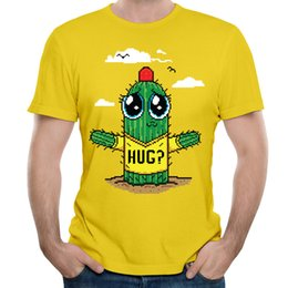 Wholesale Low Quality T Shirts - Adorable design boy T shirt hot time breathable soft t-shirt mens high quality shirt low price Hug Pixelated Graphic Tee