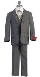 Wholesale Little Boys Pinstripe - Fashion new little boy suits Male baby flower girl dresses(Jacket+Pants+Vest+Bowtie)2016