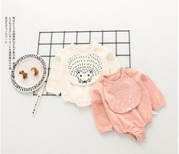 Wholesale Baby Hedgehogs - Infants Cotton rompers INS Baby girls Cartoon hedgehog long sleeve jumpsuit Toddler kids bows lace-up letters rompers Baby Clothes C1516