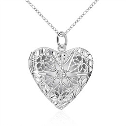 Wholesale Heart Locket Photo Frame Necklace - Long Necklace Charm Romantic Heart Necklace Mesh Flower Photo Locket Frame Pendant Explosions Silver Necklace Long Set Friend Bib Necklace