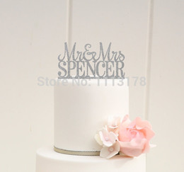 Wholesale Name Decor - Wholesale-Silver Glitter Wedding Cake Topper Mr and Mrs decor Design custom Last Name Birthday bridal baby shower cake toppers