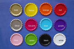 2019 matrimoni etichette All'ingrosso- Spedizione gratuita da DHL 1000 pezzi / lotto Two-Side colorato appiattito tappi di bottiglia in metallo cupola tappo Bottlecap per artigianato gioielli 12 colori