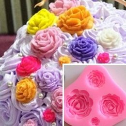 Wholesale Rose Shaped Silicone Mold - Free shipping Rose Shape Silicone Mold fondant Mold Sugarcraft Cake Decoration, roses 4 holes soap Decoration Flower wholesale TY1781