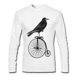 Wholesale Guy Shirts - Slim Fit T Shirt mans exclusive cotton tees RAVEN IN BICYCLE high quality tshirt for guys long-sleeved clothes for student.