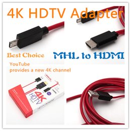 Wholesale Tv Micro Usb Adapter - MHL 3.0 Micro USB to HDMI 4K*2K 4096*2160 TV AV HDTV Adapter For Samsung Galaxy Note4 Edge S5 4 3