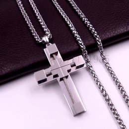 "Wholesale Mens Cross Necklace Silver - 18-40"" MENS Stainless Steel cool Silver Wheat chain Link Chain Necklace Cross Pendant"