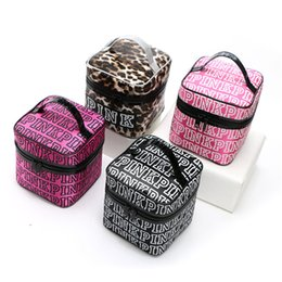 Wholesale Cosmetic Bags Train Cases - Victoria Classic Love Pink Cosmetic bag VS makeup train case Bag Double Zipper women Handbag Portable Storage Bags christmas gifts for girls