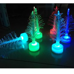 UK led fiber tree - Colorful Christmas Tree LED Light Xmas Christmas Decoration Fiber Flashing LED Tree Christmas Gifts Ornaments Wedding Party Gifts