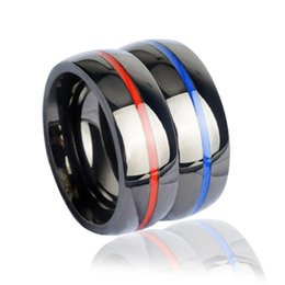 Wholesale Firefighter Gifts - Fashion Women Men's Firefighter Ring 316 Stainless Steel Electroplate Thin Blue Line Ring Top Quality Red Line Rings