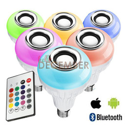 Wholesale Rgb 12w - Dimmable E26 E27 12W RGB LED Light Bulb 16 Color Changeable Bluetooth Music Speaker Wireless Stereo Audio LED Lamps AC 110-240V