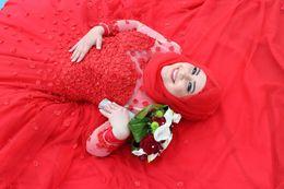 Wholesale Design Flower Evening Dress - 2017 New Design Arabic Muslim Red Evening Dresses High Neck Handmade Flowers Long Sleeve Lace Prom Dresses Robe De Soiree Formal Dresses