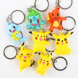 Wholesale Anime Action Figures - Fashion Accessories Poke Go Keychains Anime Pocket Monster Eevee Series Pikachu Keychain Key Ring Pendant Action Figures Pikachu 3D Keyring