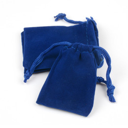 Wholesale Boutique Easter - 100pcs lot 5x7cm 4 Colors Soft Velvet Drawstrings Bag Jewelry Package Bag Wedding Christmas Boutique Packaging Velvet Gift Bags & Pouches