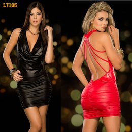 Wholesale Sexy Metal Clothing - Wholesale- High Quality women nightclub dress sexy imitation leather metal cool tight black red suspenders club dress clothes NC130