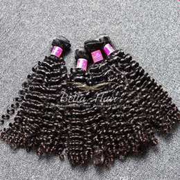 Wholesale Curly Dye Colors - Curly Hair Weave 4pcs lot Curly Brazilian Hair Unprocessed Can Be Dyed Hair extensions Cheap Brazilian Curly Weave Bella Hair