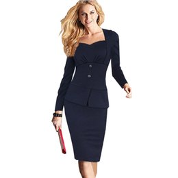Wholesale Two Piece Tunics - Women Elegant Faux Twinset Business Formal Office Suits Work Wear Tunics Long Sleeve Knee Length Pencil Bodycon Cotton Dress